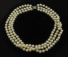TRIPLE STRAND WHITE PEARL NECKLACE, strung with