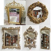 FIVE DECORATIVE WALL MIRRORS, a mixed variety of