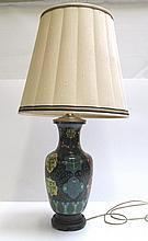 CHINESE CLOISONNE TABLE LAMP having black ground