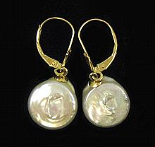 PAIR OF COIN PEARL AND FOURTEEN KARAT GOLD