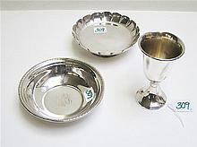 THREE STERLING SILVER HOLLOWWARE PIECES: 1 goblet,