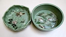 ORIENTAL CELADON GLAZED BOWL AND ASHTRAY, the bowl
