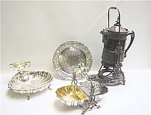 FOUR SILVER PLATED SERVING ITEMS: 1 English