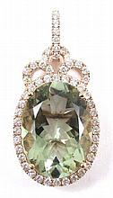 GREENED AMETHYST AND DIAMOND PENDANT, 14k rose