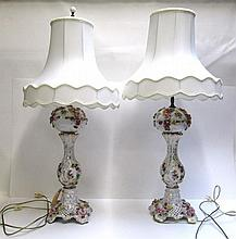 PAIR OF MEISSEN STYLE TABLE LAMPS having applied