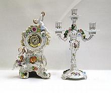 DRESDEN PORCELAIN MANTEL CLOCK AND CANDELABRA, two