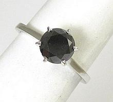 BLACK DIAMOND SOLITAIRE RING, 14k white gold with