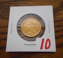 U.S. FIVE DOLLAR GOLD COIN, Liberty head type, var