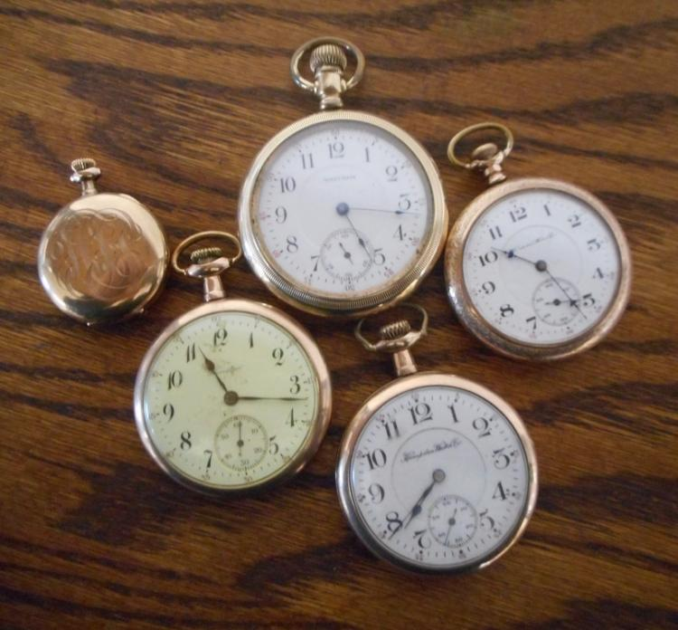 FIVE AMERICAN POCKET WATCHES:  1) Crown Watch Co.