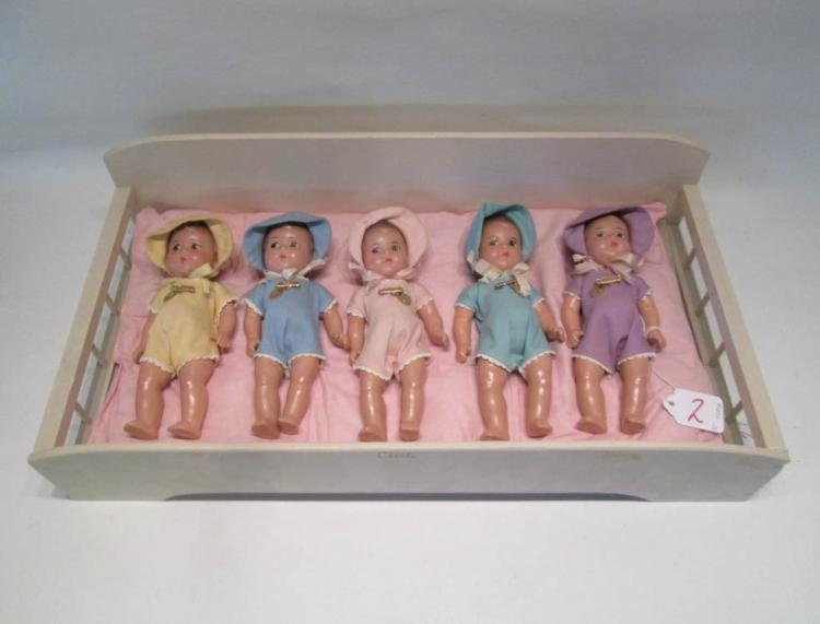 FIVE MADAME ALEXANDER DIONNE QUINTUPLET DOLLS WITH