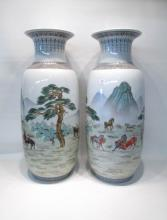 TWO CHINESE PORCELAIN BALUSTER VASES depicting han