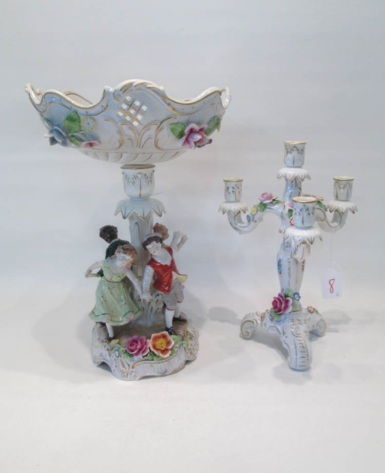 DRESDEN PORCELAIN PEDESTAL BOWL AND CANDELABRUM: