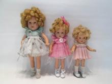 THREE COMPOSITION SHIRLEY TEMPLE DOLLS by Ideal wi