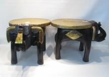 PAIR OF ELEPHANT END TABLES each of carved wood fe