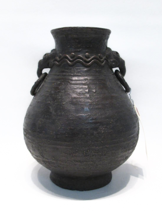 BRONZE CHINESE VASE, classic style decorated with