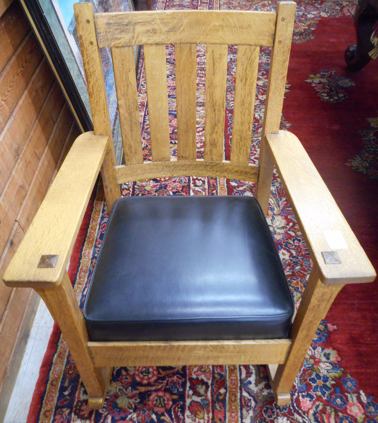 CHARLES STICKLEY CRAFTSMAN OAK ROCKING CHAIR, Char