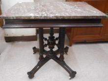 A VICTORIAN MARBLE-TOP WALNUT LAMP TABLE, Eastlake