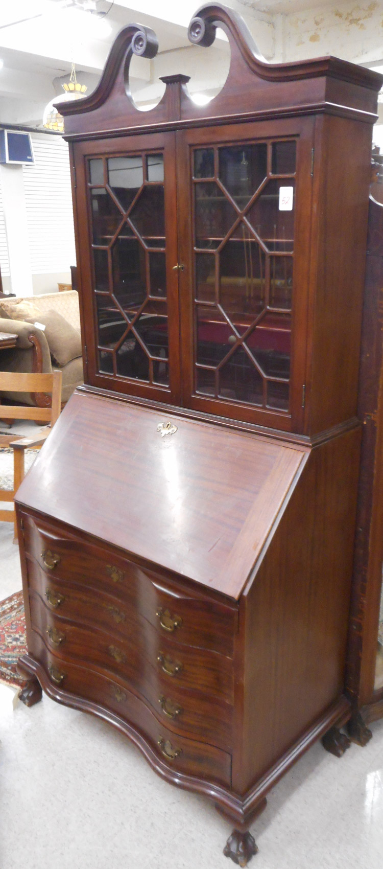 CHIPPENDALE STYLE MAHOGANY SECRETARY BOOKCASE, Mad