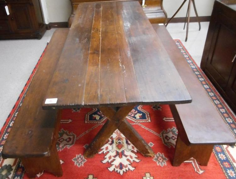 COUNTRY KITCHEN HARVEST TABLE AND TWO BENCHES, Ame