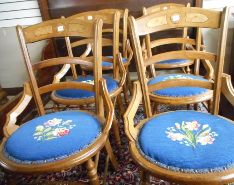 A SET OF SIX VICTORIAN WALNUT CHAIRS, American, la