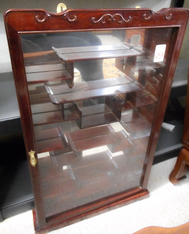 CHINESE ROSEWOOD NETSUKE OR SNUFF BOTTLE CABINET,