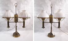 PAIR OF BRASS STUDENT FLUID OIL LAMPS converted to
