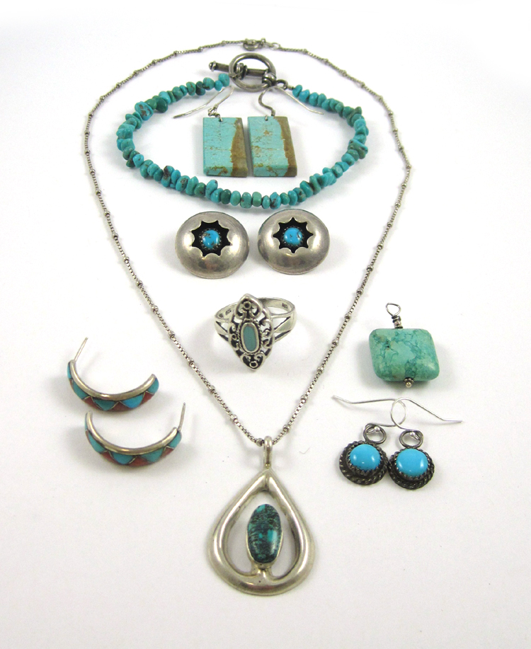 EIGHT PIECES OF NATIVE AMERICAN STYLE JEWELRY, inc