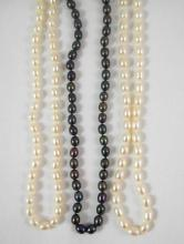 THREE OPERA LENGTH FRESHWATER PEARL NECKLACES, the