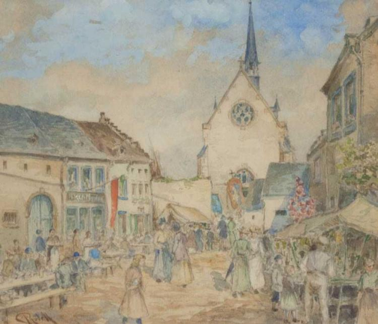 CARL RUDELL WATERCOLOR ON PAPER (Germany, 1855-193