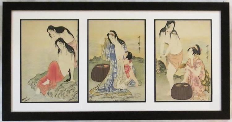 AFTER KITAGAWA UTAMARO, THREE WOODCUTS (Japan, cir
