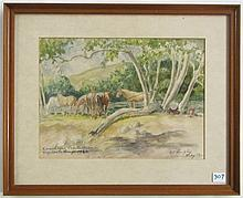 EDWARD B. QUIGLEY WATERCOLOR AND PENCIL SKETCH ON