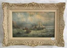 SEASCAPE OIL ON CANVAS, tall ships near harbor and