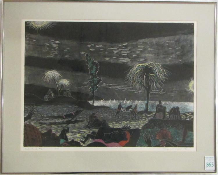 GEORGE JOHANSON ETCHING AND WATERCOLOR ON PAPER (S