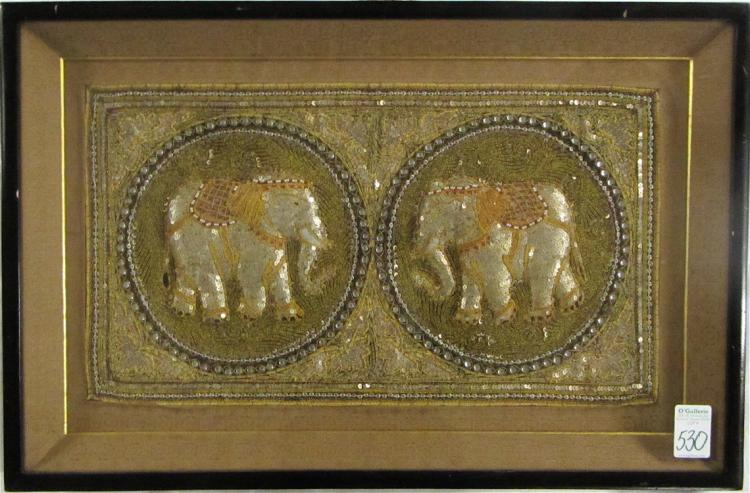 FRAMED INDIAN NEEDLEWORK TAPESTRY WITH ELEPHANTS s