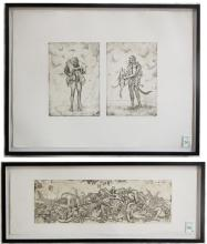 ALEXANDER ZAKHAROV, TWO ETCHINGS (Russia, born 194