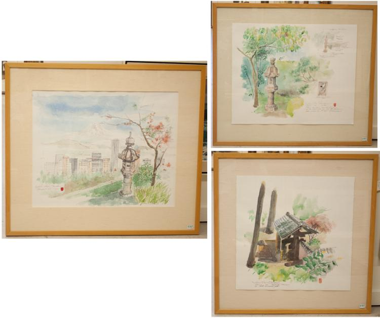 DENNIS CLEMMENS, THREE WATERCOLORS ON PAPER (Portl