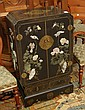 HARDSTONE INSET BLACK LACQUER SIDE CABINET,