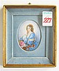 FRENCH MINIATURE OIL ON OVAL PORCELAIN Portrait of