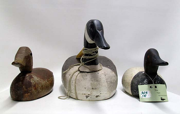 THREE HAND MADE WOODEN CARVED WATERFOWL DECOYS: