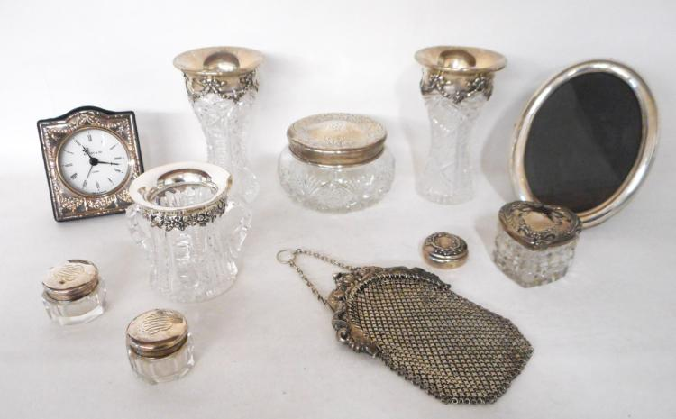 ELEVEN CUT CRYSTAL AND STERLING SILVER ITEMS: pai