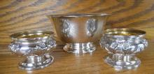 THREE STERLING SILVER HOLLOWWARE ITEMS:  footed bo