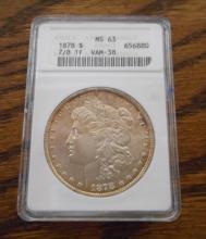 U.S. SILVER MORGAN DOLLAR, 1878-P, 7/8 TF, ANACS c