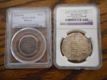 TWO SPANISH COLONIAL SILVER COINS:  1) early pilla