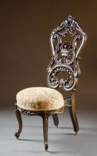 HIGHLY CARVED WALNUT HALL CHAIR, Louis XV substyle