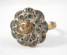 INDIA DIAMOND, SILVER AND YELLOW GOLD RING.  The s