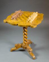 INLAID CHESS TABLE WITH WOOD CHESS SET, the top fe