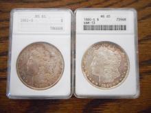 TWO U.S. SILVER MORGAN DOLLARS:  1880-S, ANACS cas