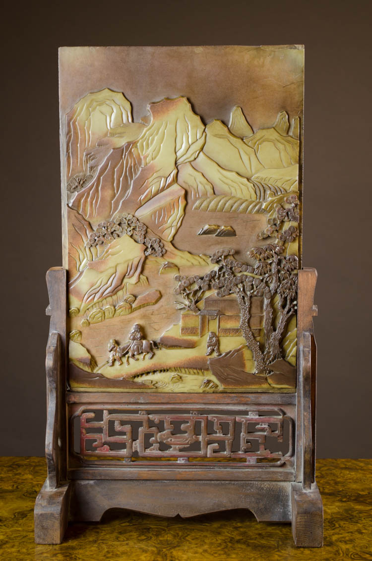 CHINESE DUAN STONE SCHOLAR'S TABLE SCREEN, the rec
