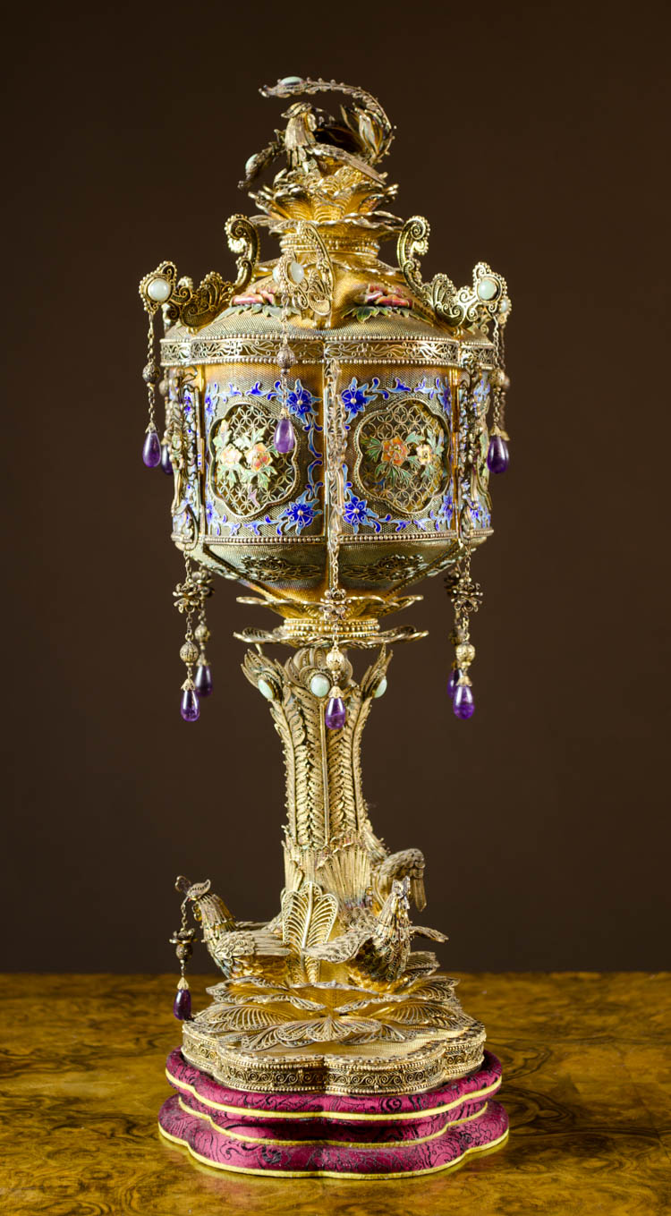 CHINESE ENAMEL AND GILT SILVER LIDDED CENSER, 20th