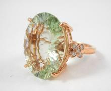 GREENED AMETHYST, DIAMOND AND ROSE GOLD RING.  The